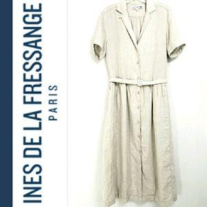 Ines De La Fressange Paris Creme Linen Midi Dress
